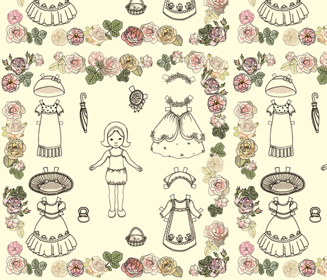 Paper Doll and Roses Color fabric by juliamonroe on Spoonflower - custom fabric