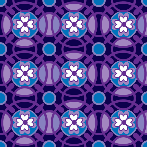 Ring of posies in violet fabric by delsie on Spoonflower - custom fabric