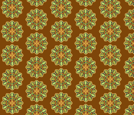 MandalaTealCaramel fabric by zephyrlondon on Spoonflower - custom fabric