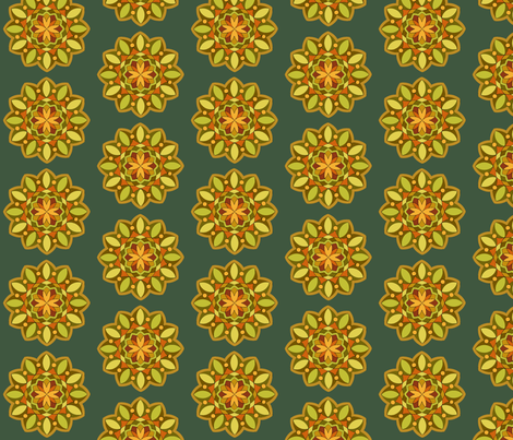MandalaTangerineEmerald fabric by zephyrlondon on Spoonflower - custom fabric