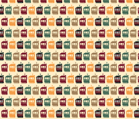 Tram Line Up fabric by upcyclepatch on Spoonflower - custom fabric