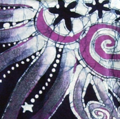 Purple Moon and Star Batik Design