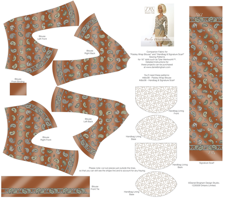 "Paisley Blouse Set - rust: 16"" dolls fabric by danielbingham on Spoonflower - custom fabric"