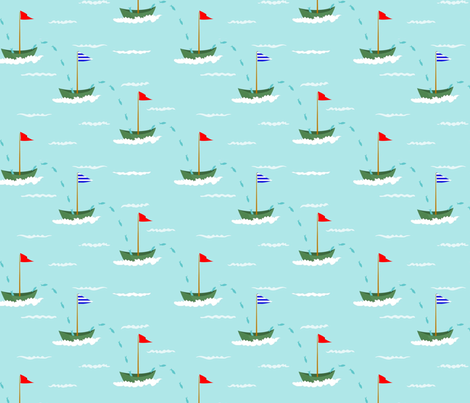flying fish regatta fabric by vo_aka_virginiao on Spoonflower - custom fabric
