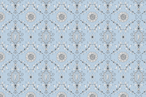 Nature's Damask - BLUE GRAY fabric by pattysloniger on Spoonflower - custom fabric