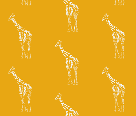 Giraffe Calligram fabric by blue_jacaranda on Spoonflower - custom fabric