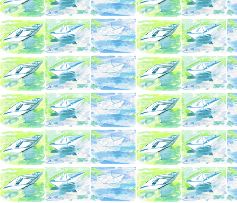 C'EST LA VIV™ Summer Breeze Collection_PaperBoats fabric by cest_la_viv on Spoonflower - custom fabric