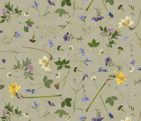 pressed flowers fabric by weavingmajor on Spoonflower - custom fabric