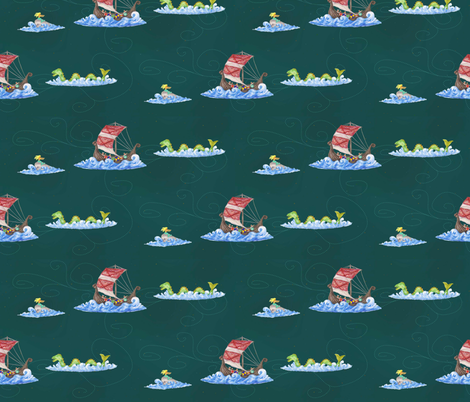 A Viking Fantasy at Sea fabric by lulakiti on Spoonflower - custom fabric