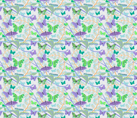 Purple Green Butterflies fabric by vinpauld on Spoonflower - custom fabric