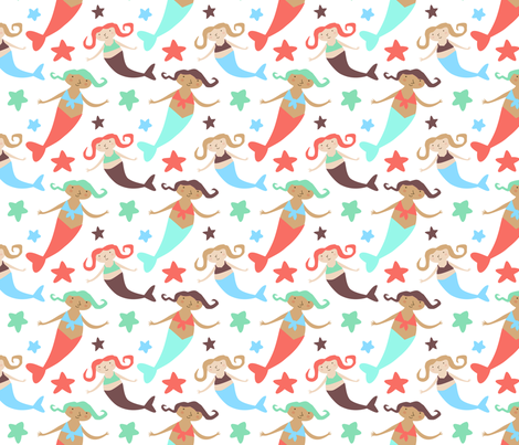 Carnival Sea Sirens fabric by zoel on Spoonflower - custom fabric