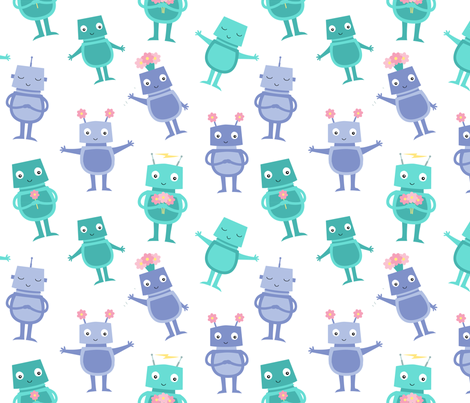 Robot Sweeties fabric by zoel on Spoonflower - custom fabric