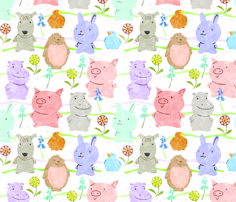 cute animals white fabric by vinpauld on Spoonflower - custom fabric