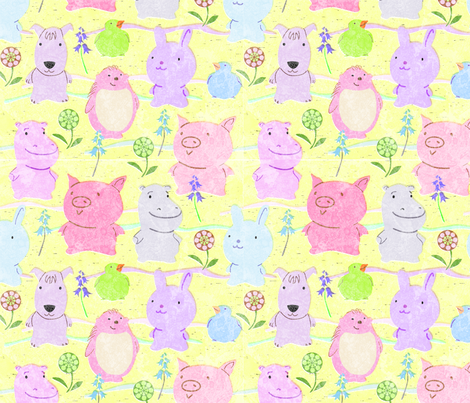 cute_animals_yellow fabric by vinpauld on Spoonflower - custom fabric