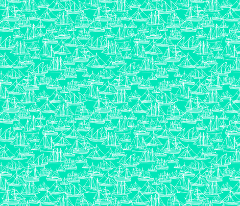 Sailing Ships - Seafoam fabric by laurenhunt on Spoonflower - custom fabric