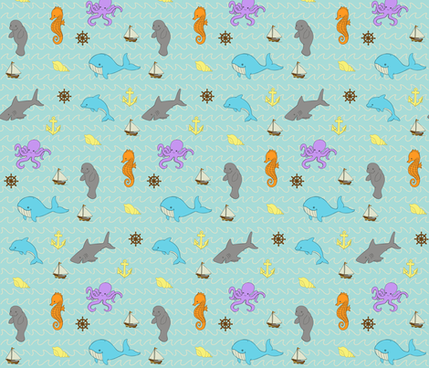 Sea Creatures Ahoy fabric by mytinystar on Spoonflower - custom fabric