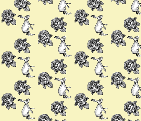 Roses and Bunnies fabric by taraput on Spoonflower - custom fabric