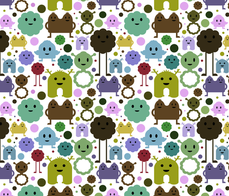 Monsters On the Loose - Teals, Browns and Olive fabric by jesseesuem on Spoonflower - custom fabric