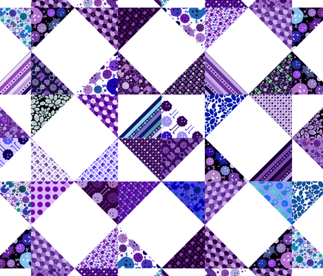 "Monster Cheater Quilt - 36""x36"" - Purples and Blues fabric by jesseesuem on Spoonflower - custom fabric"