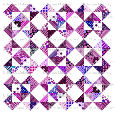 """Monster Cheater Quilt - 36""""x36"""" - Purples and Pinks"""