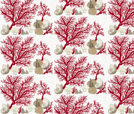 Red Coral and sea shells / Lt. fabric by paragonstudios on Spoonflower - custom fabric