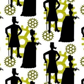 Steampunk Victorian Silhouette Couple with Gears & Raygun