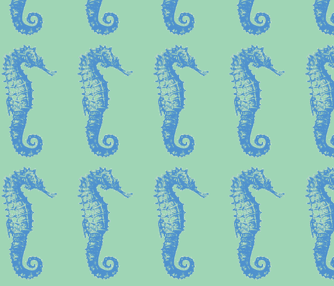 seahorse- seagreen bl fabric by mjw23 on Spoonflower - custom fabric