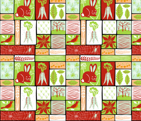 Garden Grid 2 fabric by vinpauld on Spoonflower - custom fabric
