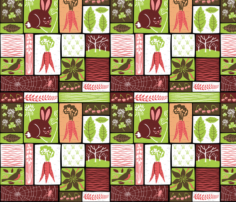 Garden Grid 3 fabric by vinpauld on Spoonflower - custom fabric