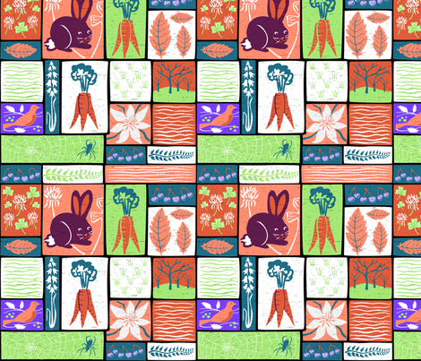 Garden Grid 4 fabric by vinpauld on Spoonflower - custom fabric