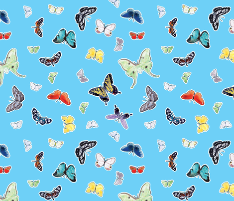 Butterflies in Watercolor fabric by anntuck on Spoonflower - custom fabric
