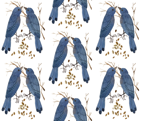 Bluebirds fabric by gollybard on Spoonflower - custom fabric