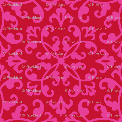 Contessa Damask - Scarlet Blush