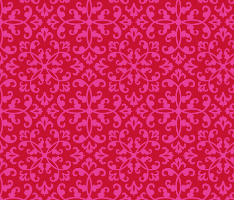 Contessa Damask - Scarlet Blush fabric by pixeldust on Spoonflower - custom fabric