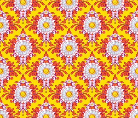Daisy Scroll fabric by evtorrezart on Spoonflower - custom fabric