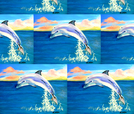 dolphin, half-brick repeat, 8x11 fabric by mjw23 on Spoonflower - custom fabric