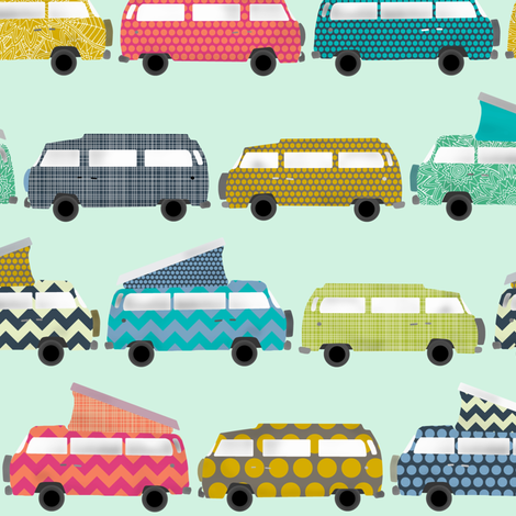 geo campers mint small fabric by scrummy on Spoonflower - custom fabric
