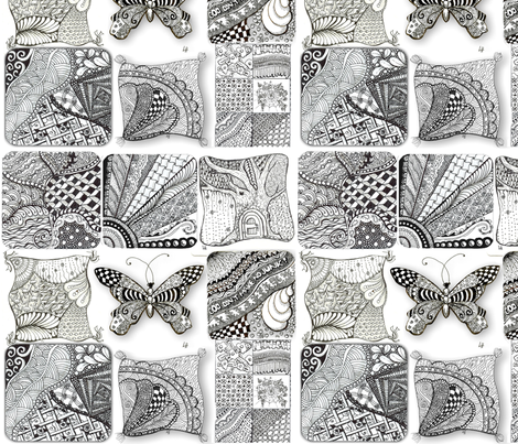Zentangle Fabric 1 fabric by lacefairy on Spoonflower - custom fabric