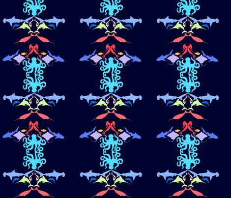 undersea mirror navy fabric by cortneyrae on Spoonflower - custom fabric