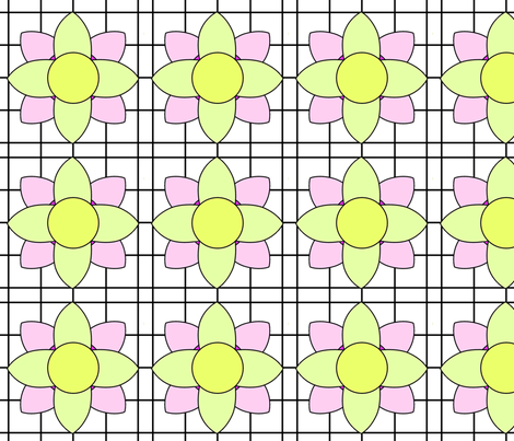 Lemon Yellow and Pink Stained Glass Window Fabric