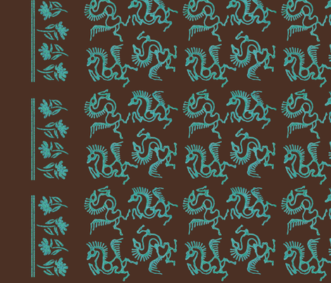 Batik-horses-linen54in-double-border fabric by mina on Spoonflower - custom fabric