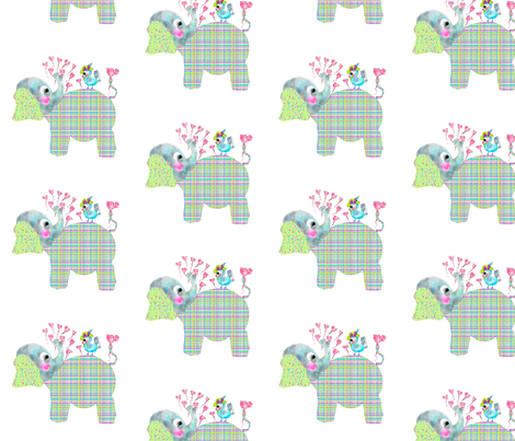 Henri the Elephant loves Mademoiselle Tweet fabric by rosannahope on Spoonflower - custom fabric