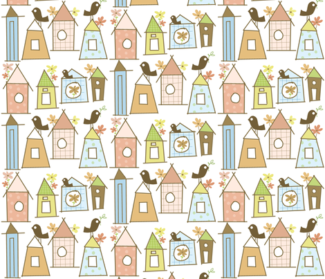 birdhouse village fabric by emilyb123 on Spoonflower - custom fabric