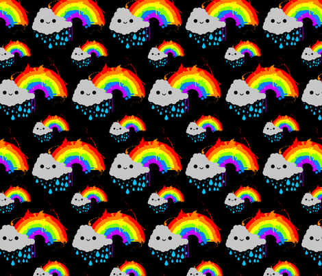 Smiley_Rainbow_Cloud_pattern_1 fabric by joeyc on Spoonflower - custom fabric