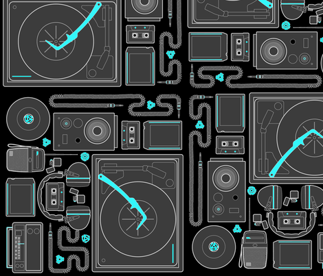 Stereophonic Black fabric by thirdhalfstudios on Spoonflower - custom fabric