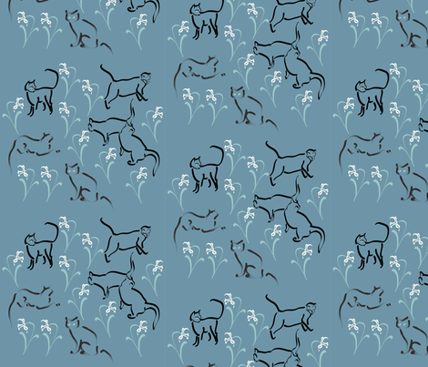 Cats in the garden-fabric3-BLUE