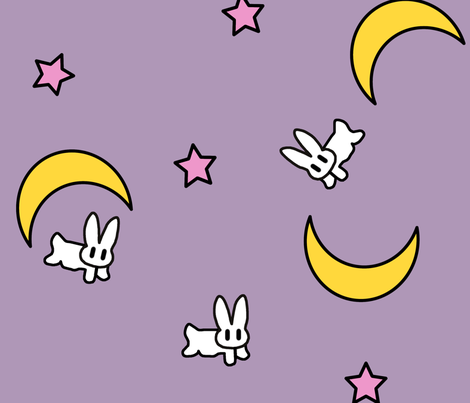 Bunny of the Moon Blanket Print fabric by starlightslk on Spoonflower - custom fabric