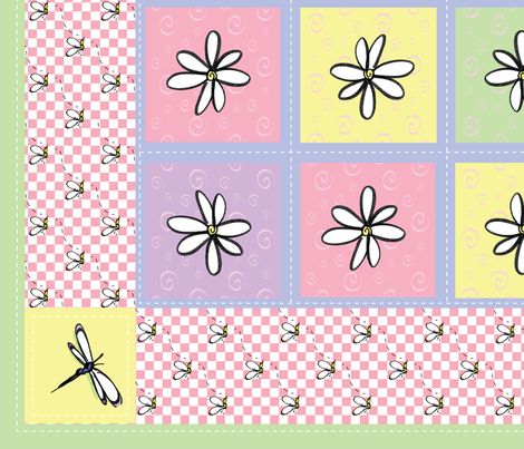 Girlie_Bugs_Baby_Quilt_42x36 fabric by ginnym on Spoonflower - custom fabric