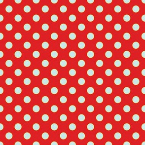 Red-Orange with Light Blue Dots