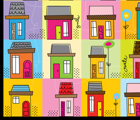 Lil_Houses_Cheater_Quilt fabric by cynthiafrenette on Spoonflower - custom fabric